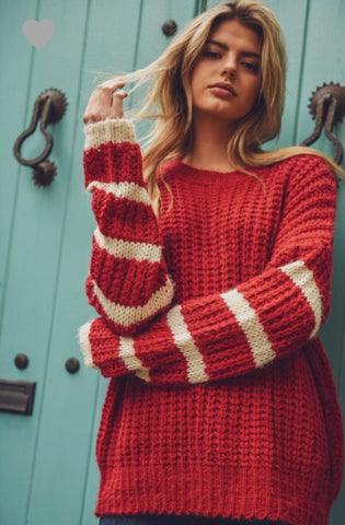 Tori Red Striped Sweater