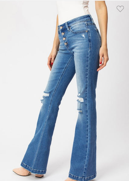 Cassidy Distressed Flare Denim