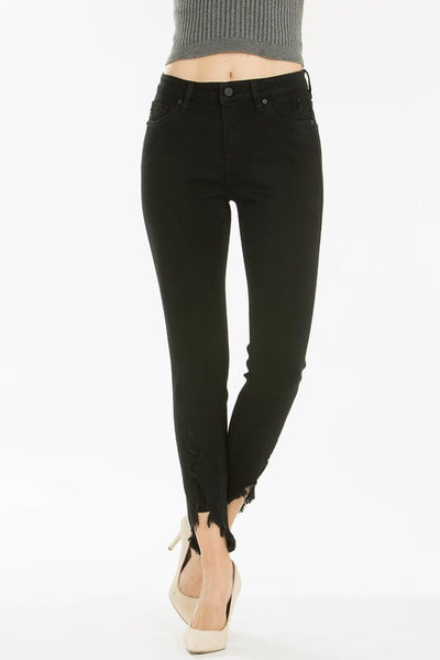 Sweet Chic Frayed Hem Black Denim Jeans