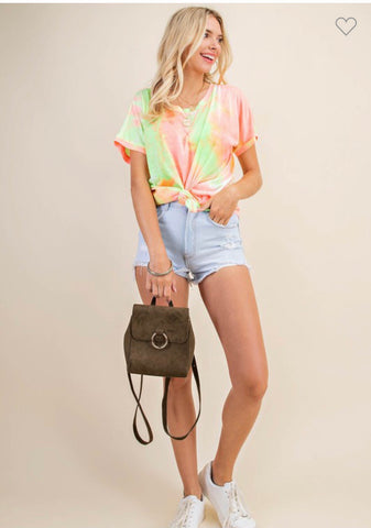 Neon Pink Mix Tie Die Top