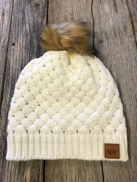 White Weaved Beanie