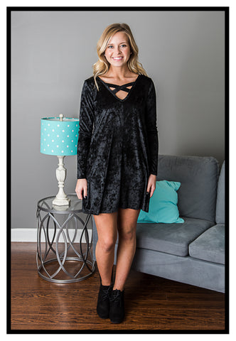 Everyday Romance Velvet Dress Black