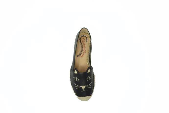 Charlotte Olympia  Black Leather Kitty Espadrilles