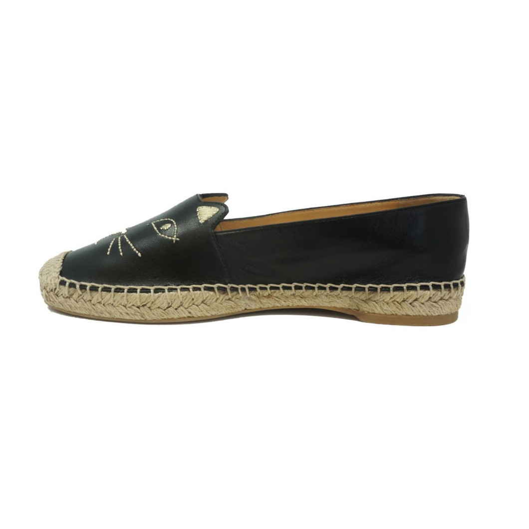 Charlotte Olympia  Black Leather Kitty Espadrilles - Studio D Shoe Boutique