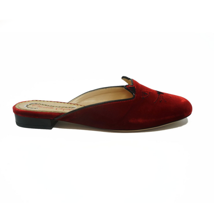 Charlotte Olympia Red & Black Velvet Kitty Slide - Studio D Shoe Boutique