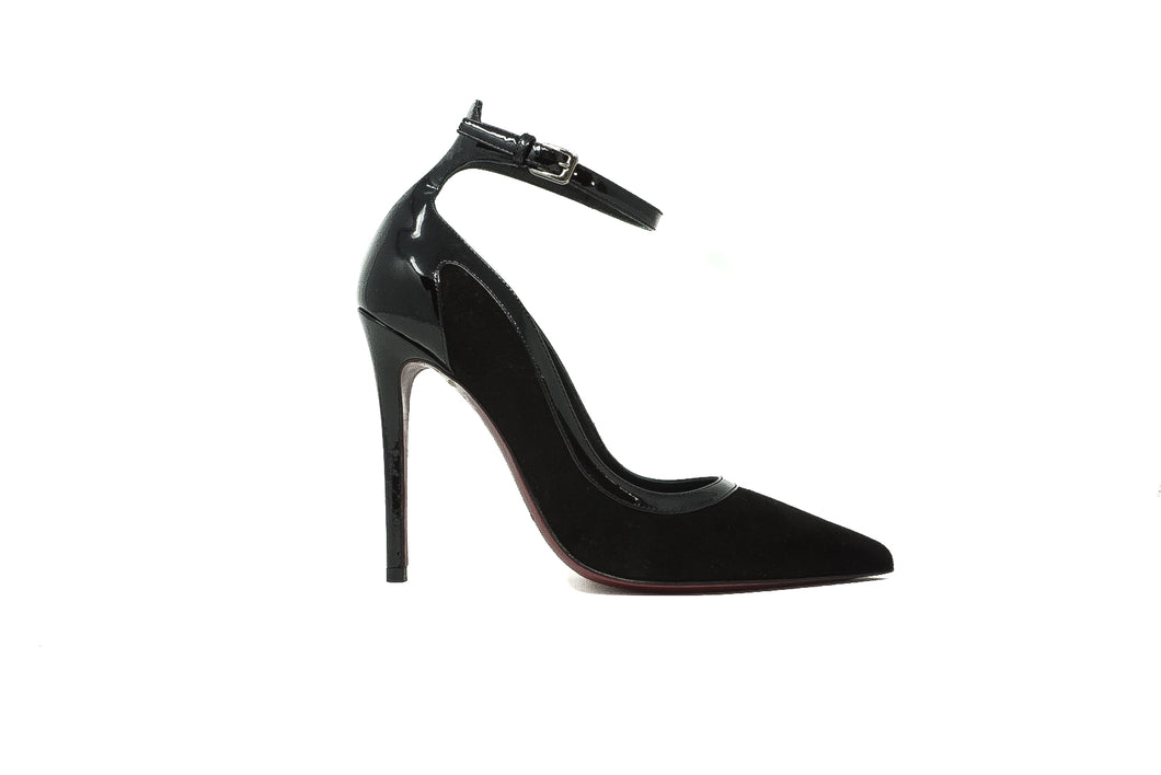 Deimille FW 03157 Black Suede and Patent T Strap High Heel Pump