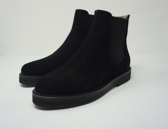 La Belle Atena Shearling Ankle Boot Black Suede - Studio D Shoe Boutique