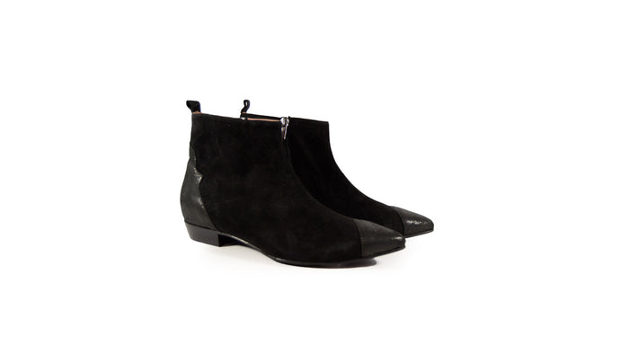 La Belle Klint Ankle Boot Black/Metallic  Suede - Studio D Shoe Boutique