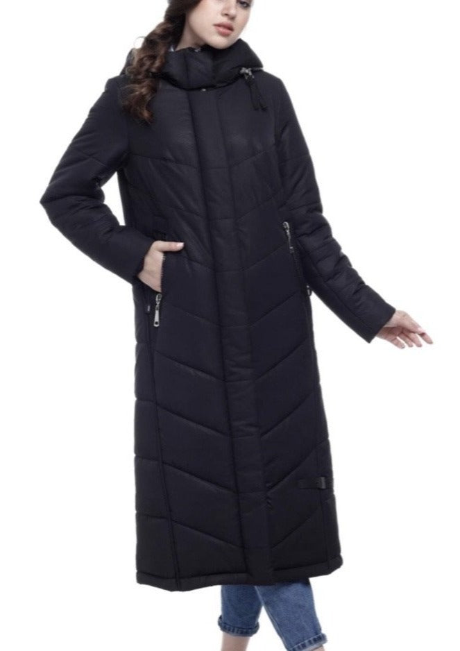 Rebecca Long Black Puffer Coat - Studio D Shoe Boutique