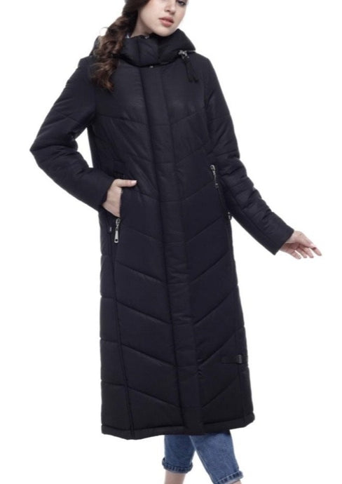 Rebecca Long Black Puffer Coat