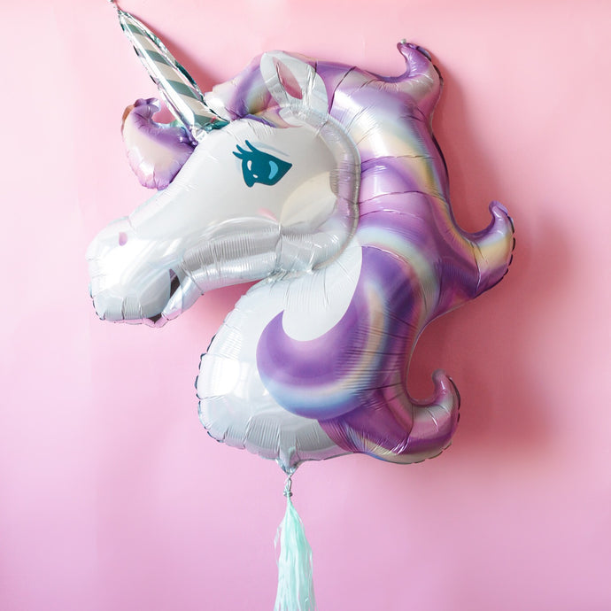 Unicorn Foil Mylar Balloon (Pastel Rainbow)