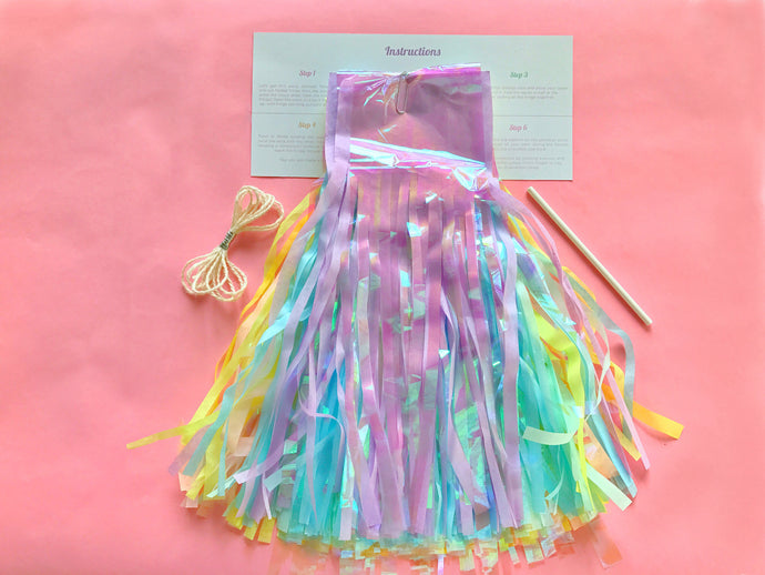 Iridescent Cloudland Rainbow DIY Tassel Garland Kit (Assembly Required)