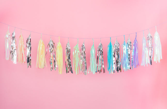 Unicorn Rainbow Iridescent Tassel Garland