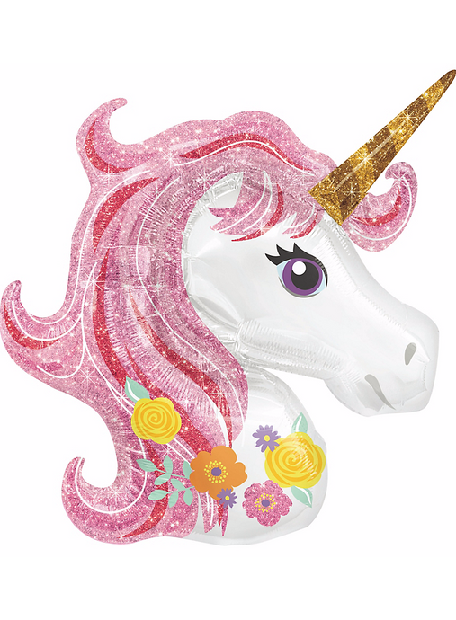Unicorn Foil Mylar Balloon (Pink Sparkle)