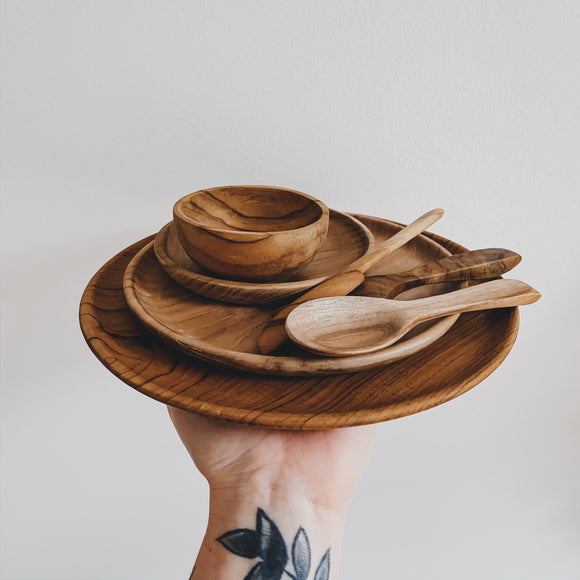 Wooden carved plate, bowl and cutlery set - kisschaseydesigns
