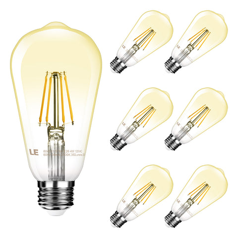 4W Dimmable LED Filament Edison Style Bulb 6 Pack - Wi-Buy