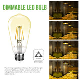 4W Dimmable LED Filament Edison Style Bulb 6 Pack
