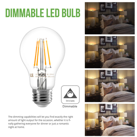 4W Warm White Dimmable 6 Pack LED Filament Light Bulbs - Wi-Buy