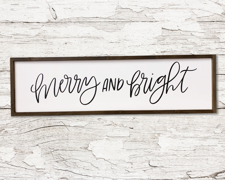 READY TO SHIP Merry and bright <br>( PAINTED WOOD SIGN )