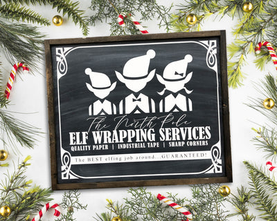 READY TO SHIP Elf Wrapping <br>( PAINTED WOOD SIGN )