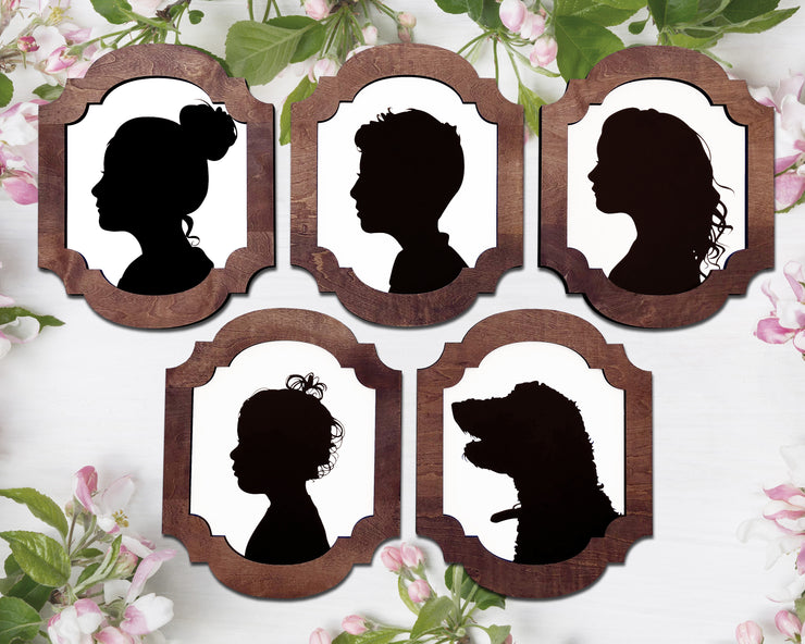 Five silhouettes