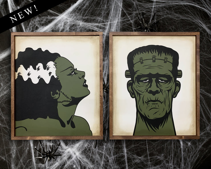 Frankenstein & his bride (set of 2)<br> ( COLORS CUSTOMIZABLE )