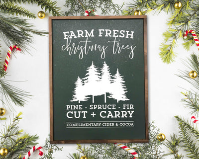 READY TO SHIP Farm Fresh Christmas Trees <br>( PAINTED WOOD SIGN )