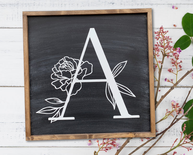 Floral Monogram - Painted Wood Sign