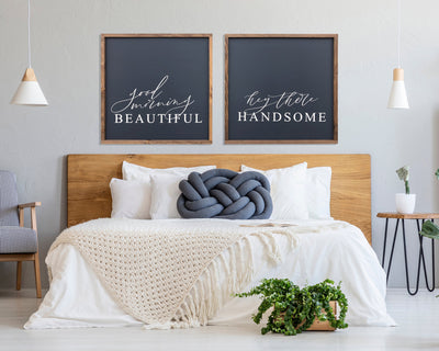 Good morning beautiful Hey there handsome (set of 2)<br> ( COLORS CUSTOMIZABLE )