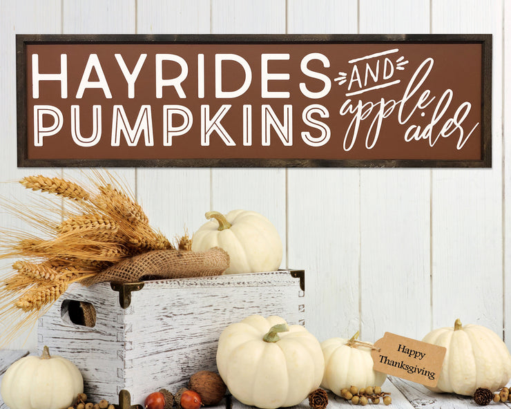Hayrides pumpkins and apple cider