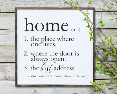 Home (n.) 1. the place where one lives. 2. where the door is always open. 3. the best address.