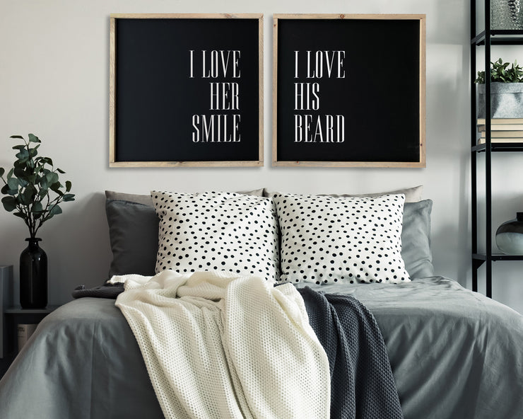 I love her smile I love his beard (set of 2)