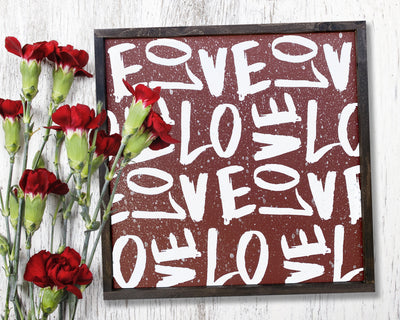 Love Collage - Painted Wood Sign
