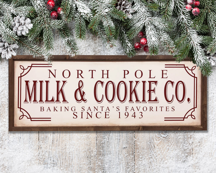 North pole milk and cookie co. baking Santa's favorite since 1943