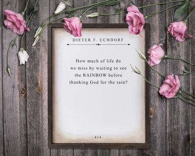 How much of life do we miss by waiting to see the rainbow...Dieter F. Uchdorf