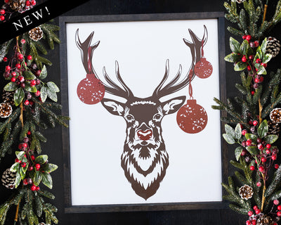 Rudolph with Ornaments<br> ( COLORS CUSTOMIZABLE )