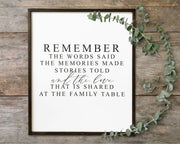Remember the words said at the family table<br> ( COLORS CUSTOMIZABLE )