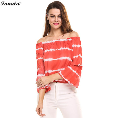 2017 Sexy Off Shoulder Stripe Top - Tangled Teez