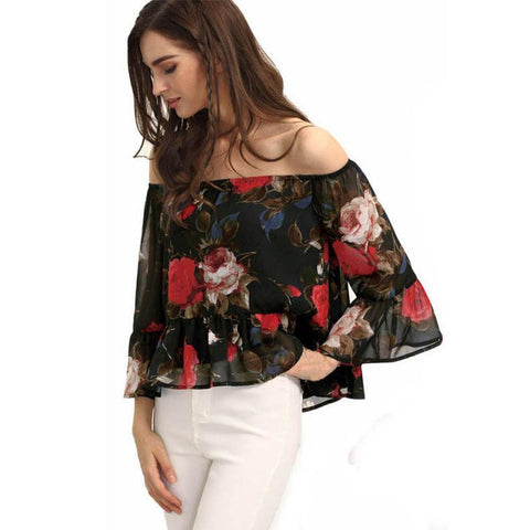 Ladies Off Shoulder Floral Chiffon Top for $10.08 at Tangled Teez