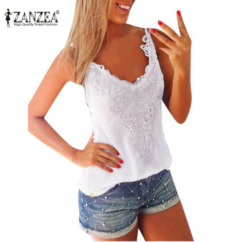 Ladies Lace V Neck Tank - Tangled Teez