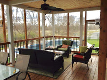 Interior view of  cedar screened in porch.