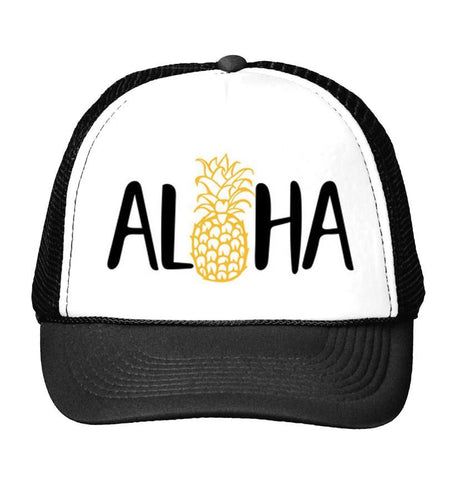 Aloha Pineapple Mesh Back Hat - Hat - Oberlo -  Maoli Life -  Maoli Life - Hawaii Jewelry - Best of Hawaii - Island Clothing - Hawaii Clothing - Hawaiian Clothing - Maoli
