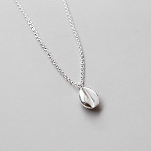 Coffee Bean Silver Necklace
