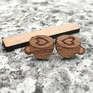 Laser Engraved Coffee Cup Earrings