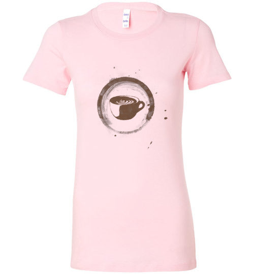 Coffee Cup Circle - Ladies T-Shirt