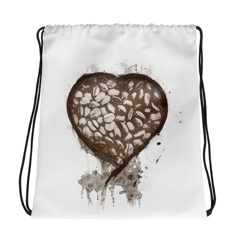Coffee Bean Heart Drawstring bag