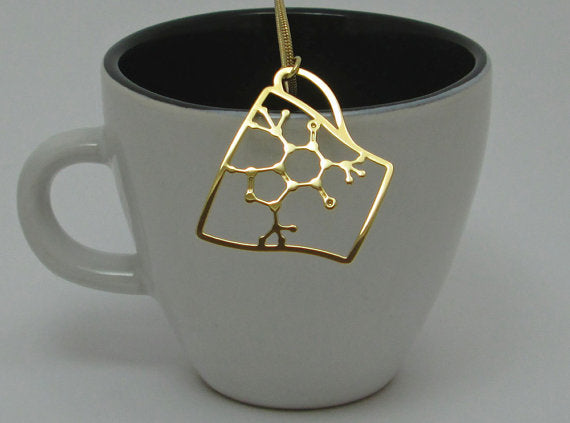Caffeine Molecule in Cup Chemistry Coffee Necklace