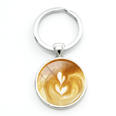 Coffee Latte Art Key Ring