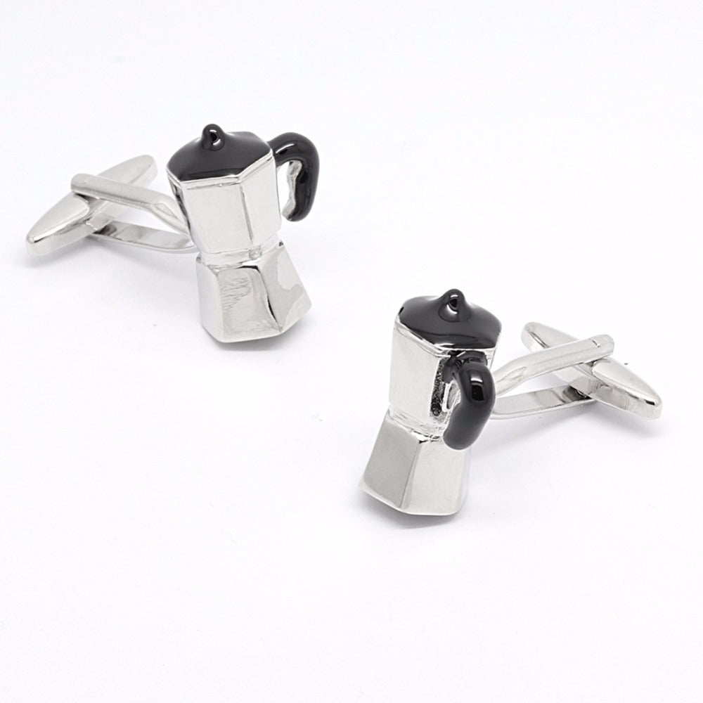 Mokapot Silver Coffee Cufflinks