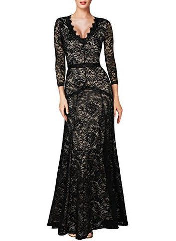 Women's Floral Lace 2/3 Sleeves Long Dress - Fashion | Jewelry | Watches
